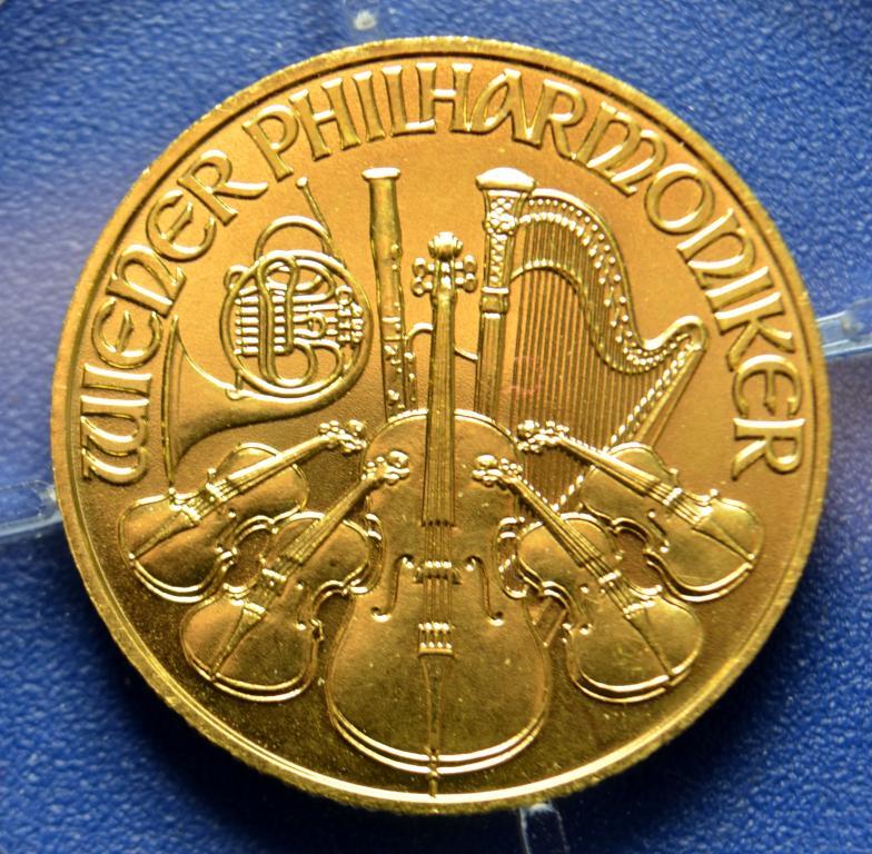 25 евро 2008 год. Австрийский Филармоникер золото 7.776 грамм золото 999 пробы 1/4 унции