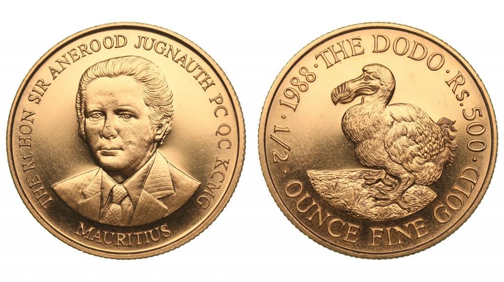 """Маврикий. 500 рупий 1988 года. Золото. 0,5019 oz. 0,917. 17,025 г. """"Птица Додо"""". Редкие!"""