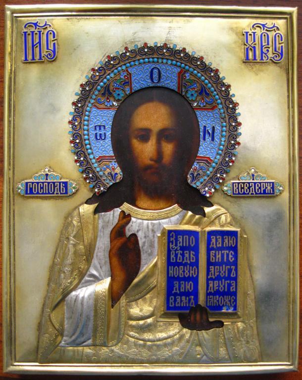 Икона Господь Вседержитель, ок. 1900 г., ~18х22 см.