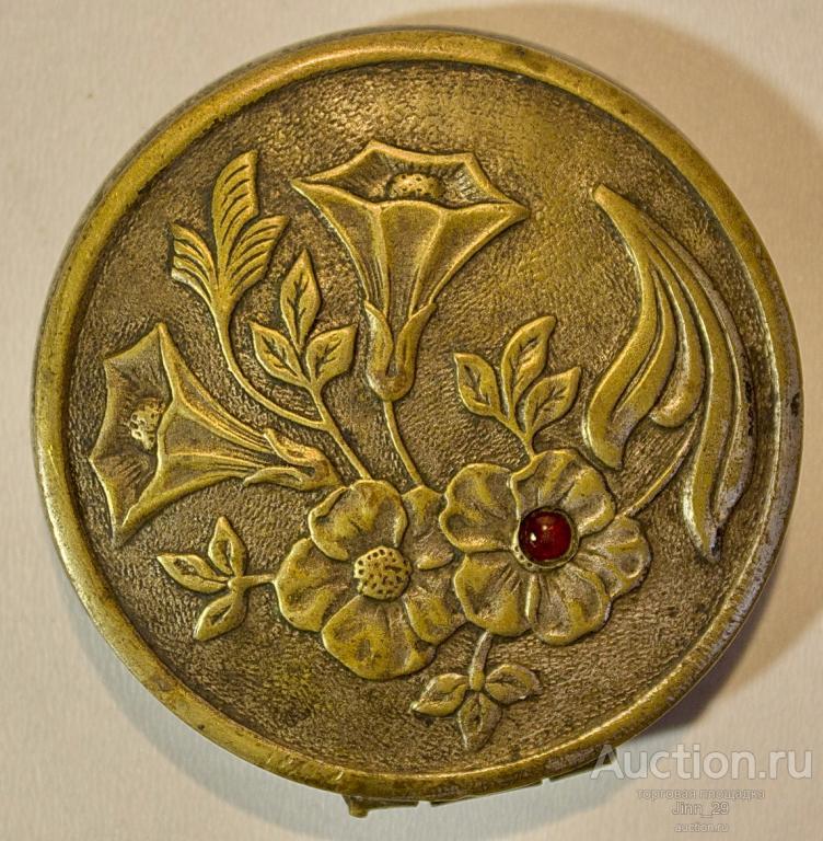 Пудреница Цветы 1952 г клеймо латунь