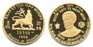 Эфиопия. 20 долларов 1966 года. Proof. Золото. 0,2315 oz. 0,900. 8,0 г.