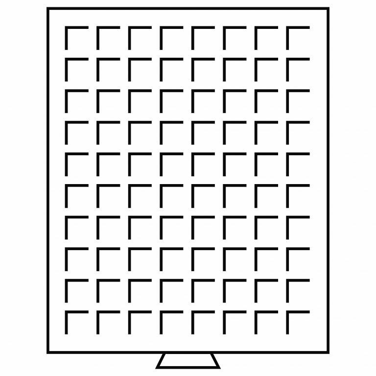 Германия Leuchtturm кассета планшет 80 ячеек 24 мм, серый с красной вставкой 314522