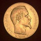 """Золотая монета 20 франков """"Наполеон III"""", 1854, Франция, 6.45гр. Au900, С РУБЛЯ!"""