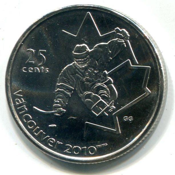 """25 центов 2009 года Канада """"Мужской хоккей""""  состояние Unc (ролл)"""