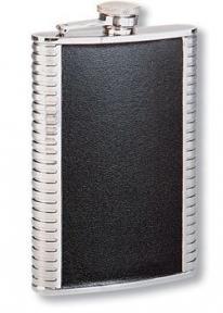 S.quire Фляга S.Quire 0,18 л, сталь+натуральная кожа, вставка черная