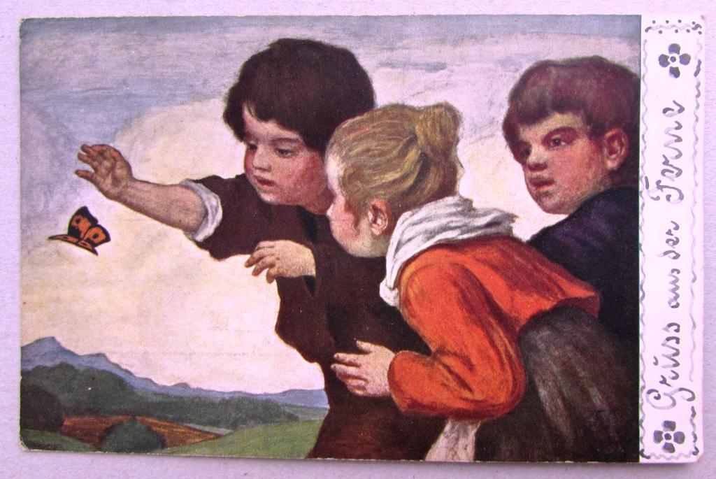 Дети ловят бабочку Германия