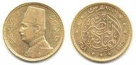Египет. 100 пиастров 1930 года. Фуад I. Золото. 0,2391 oz. 0,875. 8,5 г. КМ#354. Очень редкие!