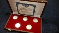 150 рублей Олимпиада 80 - 5 монет Платина набор , сертификат !!!!