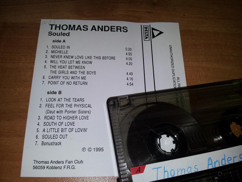 THOMAS ANDERS Souled 1995 - Poland аудио кассета