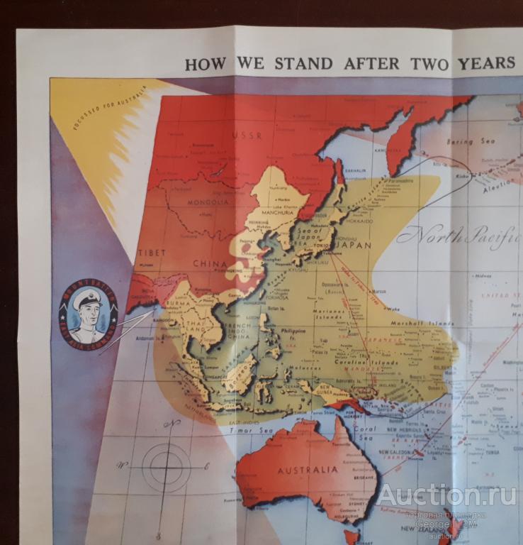 * Карта Pacific War Map * Вторая Мировая Война * Австралия 1943 год *  Реплика Копия Цветная