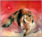 """""""красный кот"""" Кирсанова Н.А  акварель акрил 50х60 год 2002"""