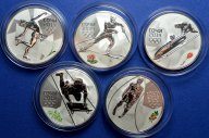 5 монет! 3 рубля 2014 год. Сочи 2014 год. Серебро!Скелетон, фигурное катание, бобслей, Лыжи, Сани.