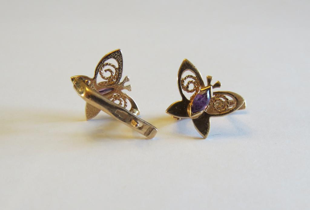 золотые серьги 585пр. с аметистами