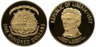 Либерия. 100 долларов 1977. Proof. Золото. 0,3163 oz. 0,900. 10.93 г. КМ#36. Тираж 4250 экз.