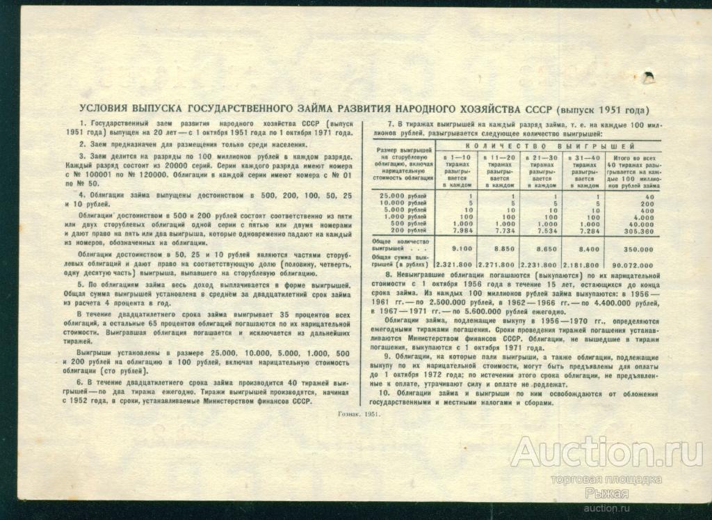 Облигация на сумму 100 рублей 1951г. 116755 №23 Разряд 110