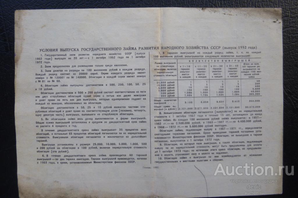 Облигация СССР на сумму 100 рублей 1952 г.