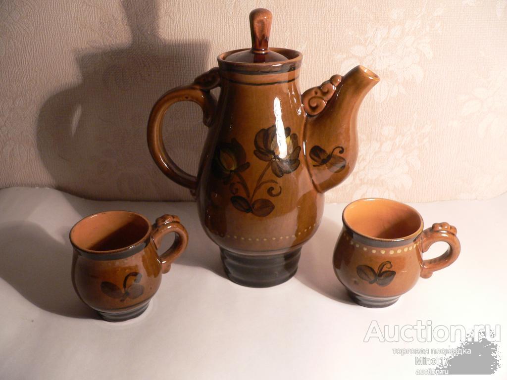 Кофейник в наборе с двумя кружками. СССР. Керамика.