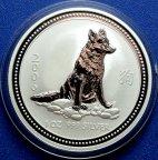 1 доллар 2006 год. Год Собаки 2006. Восточный лунный календарь. Австралия. Серебро!