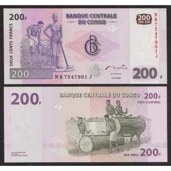 Конго 200 Франков 2007 P99a UNC (ПРЕСС)