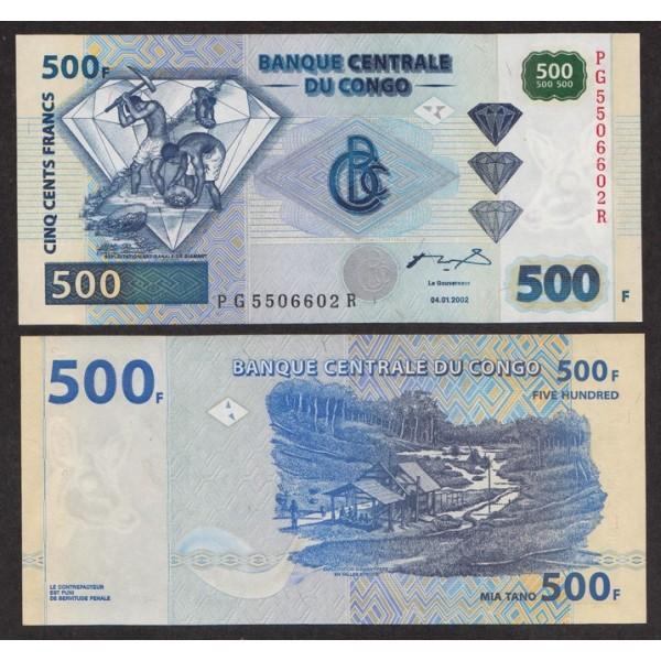 Конго 500 Франков 2002 P96a UNC (ПРЕСС)