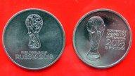 2 монеты  одним лотом  25 руб. 2018 год  ЧМ по футболу.  Логотип и Кубок FIFA с 1 рубля + номинал.