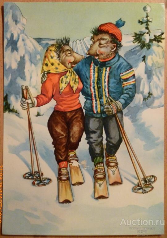 Смешные картинки двое на лыжах