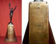 Спорт Большая Наградная Скульптура 1940 года Тяжелая Атлетика Высота 45 см. РАРИТЕТ Наградная Шильда