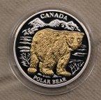 10 долларов Либерия 2004 Канада медведь серебро позолота