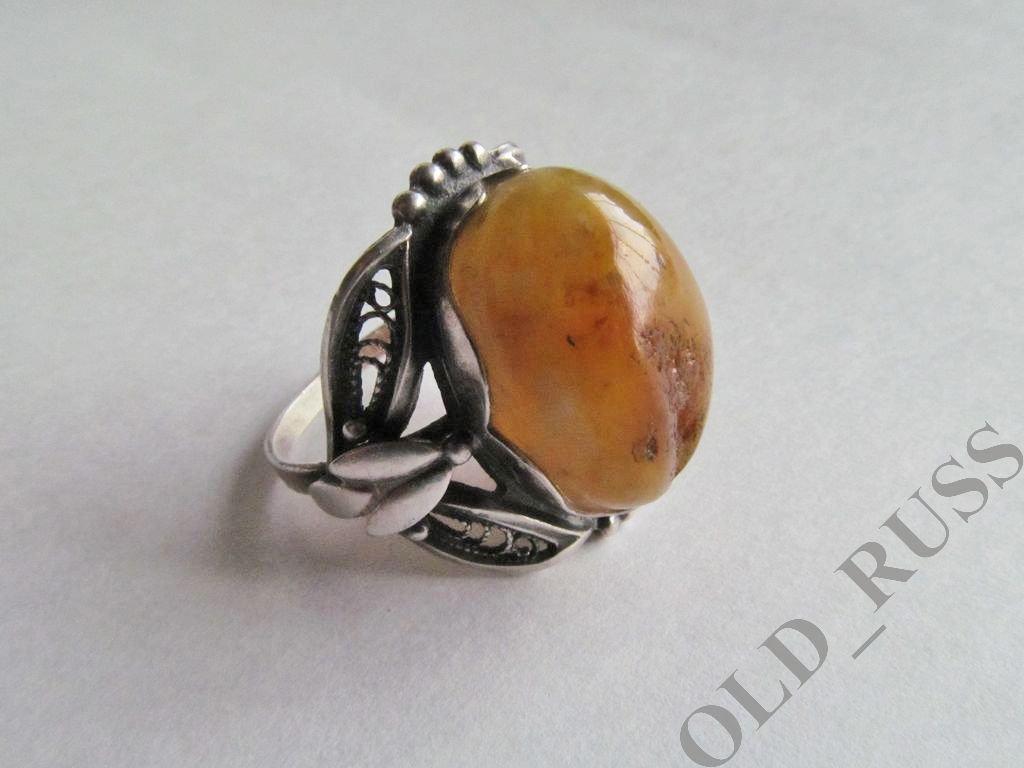 Массивный Авторский Перстень Кольцо р 21,5  Натуральный Янтарь Винтаж
