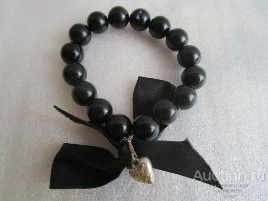 14. безразмерный браслет черный посеребрение пластик металл Англия