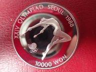 Южная Корея, 1988 Пруф  10000 вон, олимпиада ,  СЕРЕБРО ОРИГИНАЛ !!! / М 514