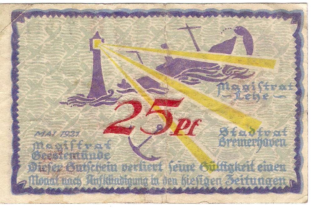 ГЕРМАНИЯ НОТГЕЛЬД 25 ПФЕННИГОВ Mehl184.1