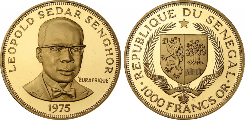 Сенегал. 1000 франков 1975 года. Proof. Золото. 0,4697 oz. 0,916. 15,95 г. Тираж 1250 шт. Редкие!