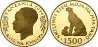 Танзания. 1500 шиллингов 1974. Proof. Золото. 0,9676 oz. 0,900. 33,437 г. Тираж 866 шт. КМ#9. Редкие