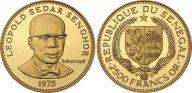 Сенегал. 2500 франков 1975 года. Proof. Золото. 1,176 oz. 0,916. 39,93 г. Тираж 1250 шт. КМ#10.