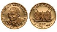 Нигер. 25 франков 1960. Proof. Золото. 0,2315 oz. 0,900. 8г. Тираж 1000шт. КМ# 2. Редкие!