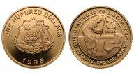 Либерия. 100 долларов 1985. Proof. Золото. 0,2063 oz. 0,900. 7.13 г. Тираж 318 экз. КМ#61. Редкость!