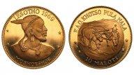 Лесото. 10 малоти 1969. Золото 0,917. 39,94 г. Proof. Тираж 3000 шт. 1.1775 oz. Редкие!
