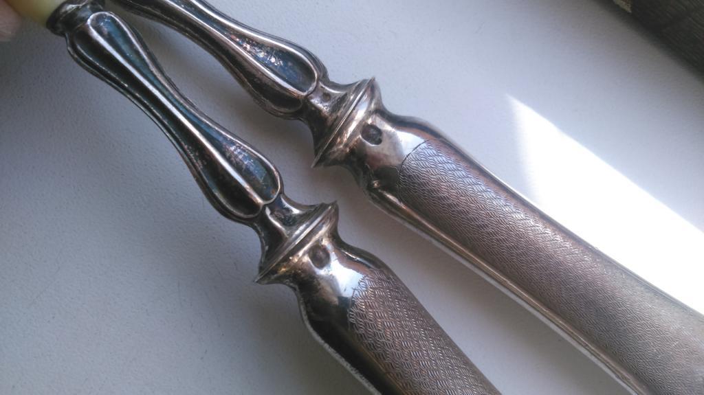 Большой старинный набор серебро кость ложка вилка Бельгия Франция 19 век