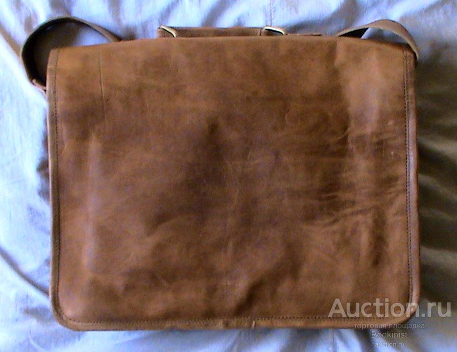 Портфель сумка (ремень). Натуральный кожа (Коза). Много отделений (Индия). Новая.