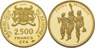Дагомея 2500 франков 1971. PROOF. Au 0.900. 8.88г. 0.2569 oz. Тираж 960 шт. Крайне редкие!