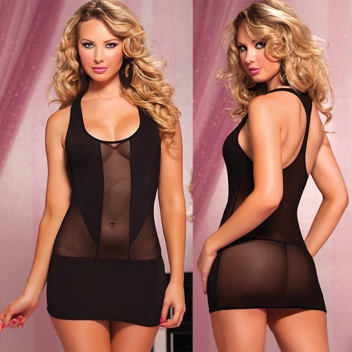 Черное Прозрачное Короткое Платье