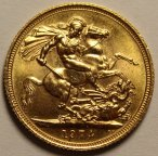 1 соверен 1974 год. Елизавета II. Золото 0.917 проба - 8 грамм. Штемпельная!