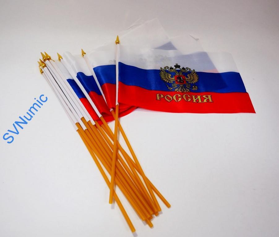 Флаг Россия с древком (малый)