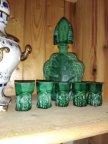 Bohemian Czech Art Deco Malachite Glass Liqueur Set by Frantisek Halama