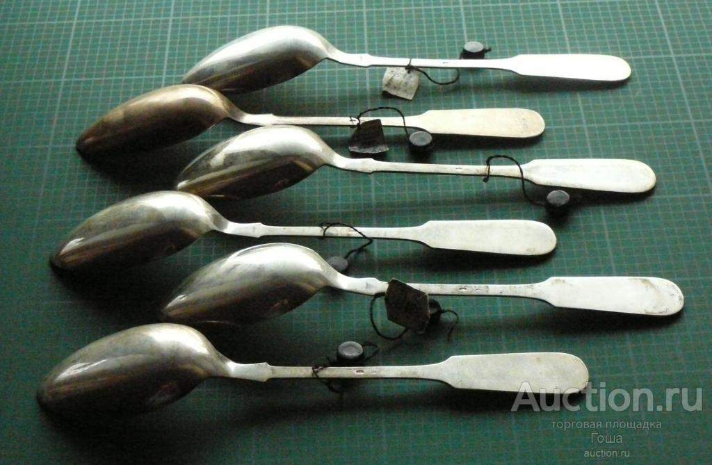 Ложки столовые, 6 штук, СССР, серебро 875, вес 426г, новые. Серебряные ложки.