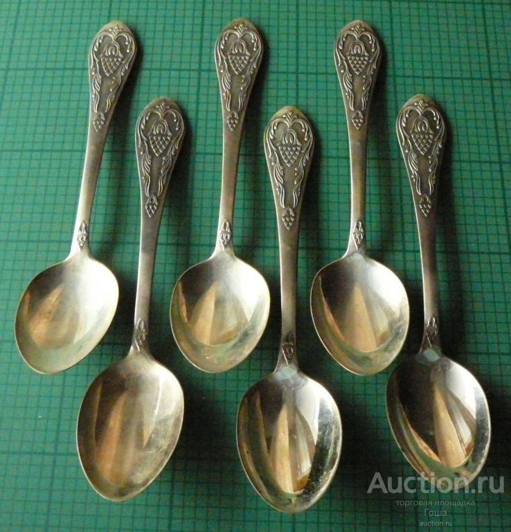 Ложки столовые, 6 штук, СССР, серебро 875, вес 416г, новые. Серебряные ложки.