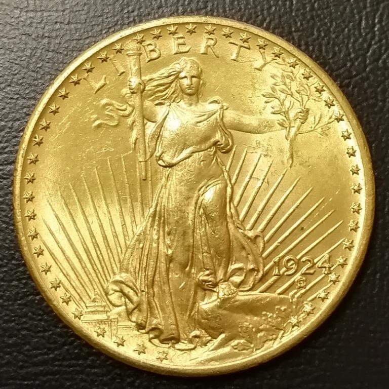 США 20 долларов 1924 ЗОЛОТО почти по цене металла!