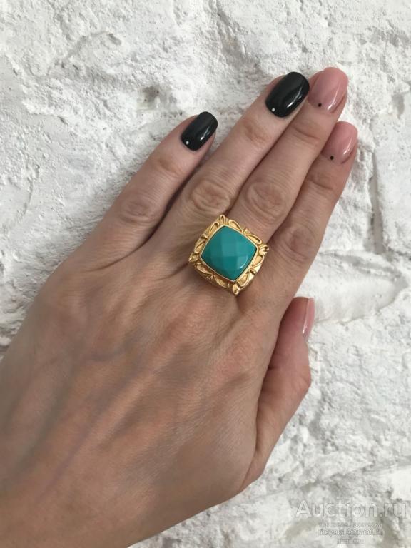Перстень  массивный   под бирюзу бижутерия