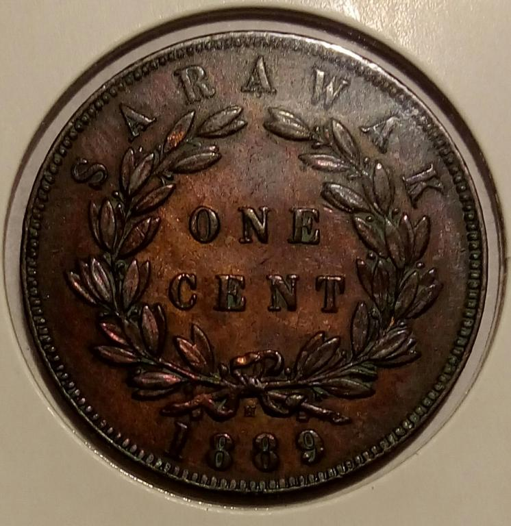 Монета один цент Саравак 1889г.